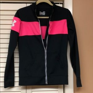 Full zip jacket-black with hot pink stripe